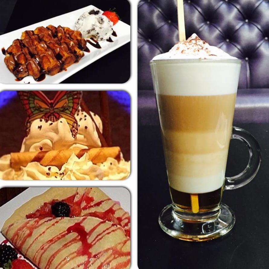 Oasis Shisha Lounge Glasgow waffle, ice cream, crepe, latte
