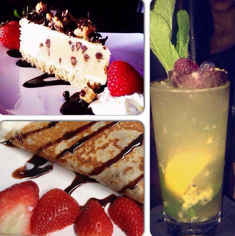 Oasis Shisha Lounge Glasgow mocktails, cheesecake, crepe with strawberries nutella