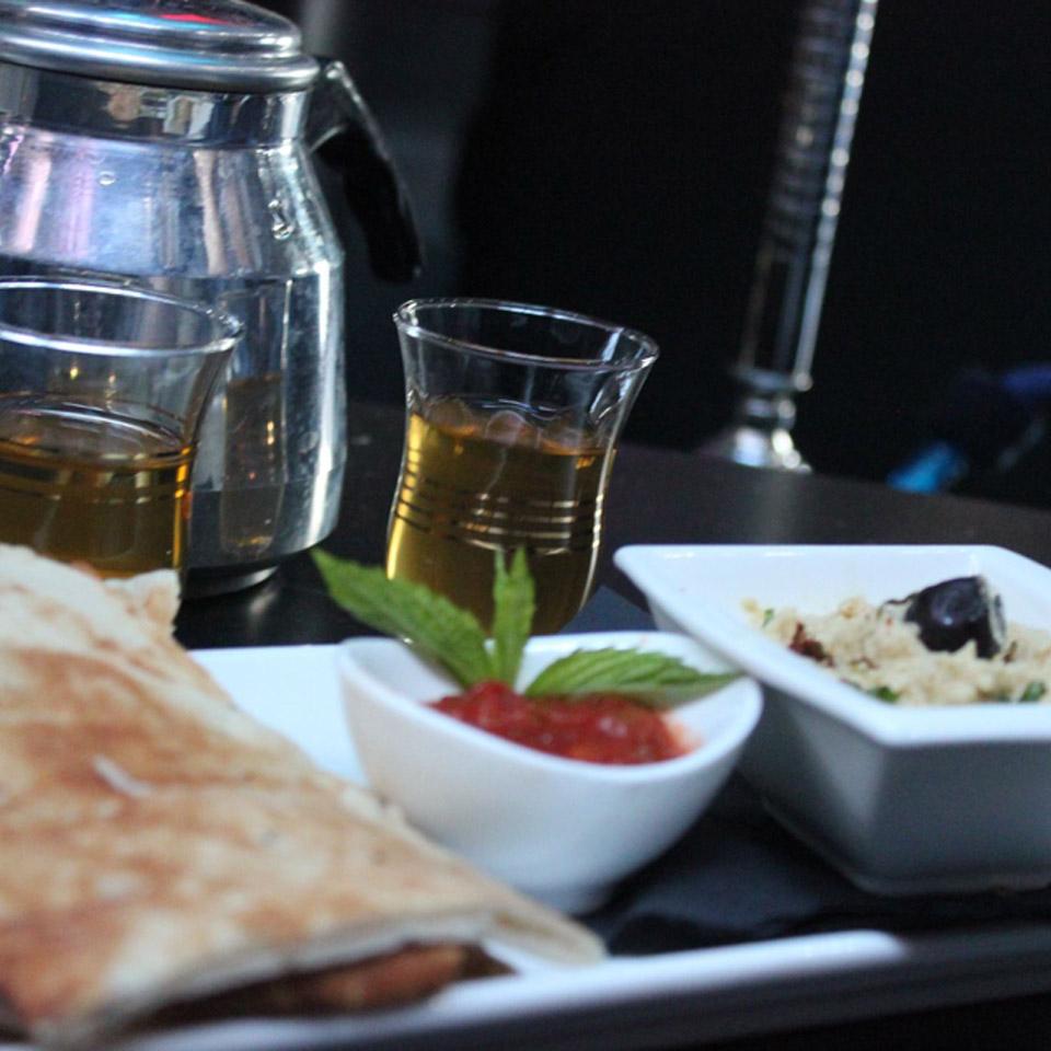 Oasis Shisha Lounge Glasgow Moroccan mint tea, hummus