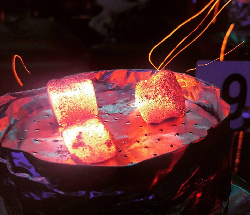 Oasis Shisha Lounge Glasgow coals burning